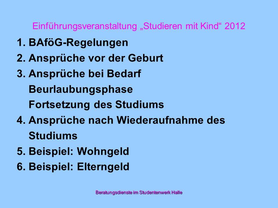 Einführungsveranstaltung Studieren mit Kind 2012 Bundesausbildungsförderungsgesetz (BAföG) 1.Ausbildungsunterbrechung (§ 15 Abs.