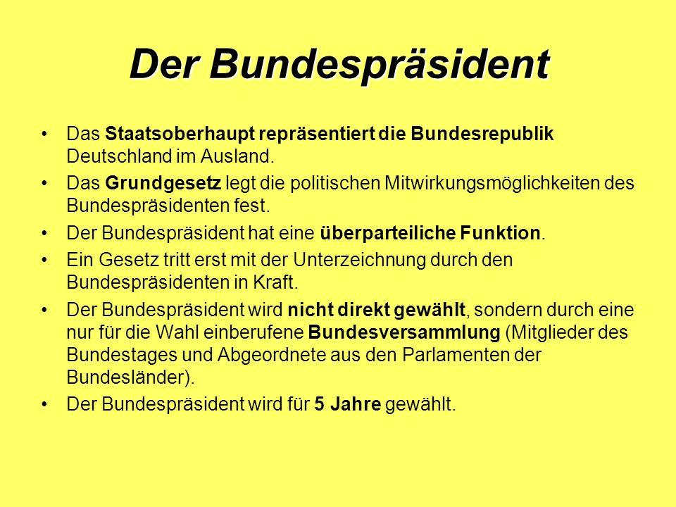 Der Bundespräsident Wie hieß der erste Präsident der BRD.