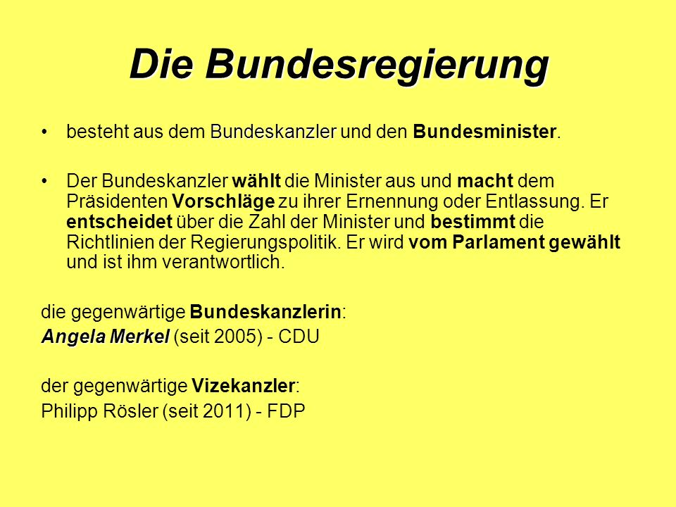 Die Parteien CDU CDU – die Christlich Demokratische Union Deutschlands CSU CSU – die Christlich Soziale Union SPD SPD – die Sozialdemokratische Partei Deutschlands FDP FDP – die Freie Demokratische Partei Die Linke Bündnis 90/Die Grünen