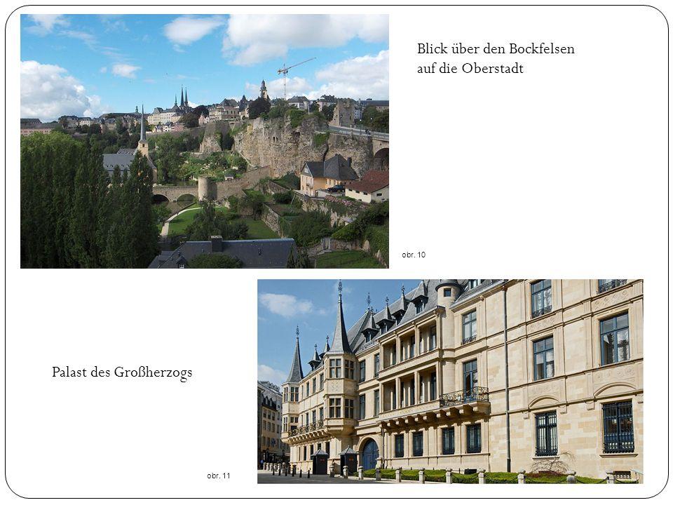 Blick über den Bockfelsen auf die Oberstadt obr. 10 Palast des Großherzogs obr. 11