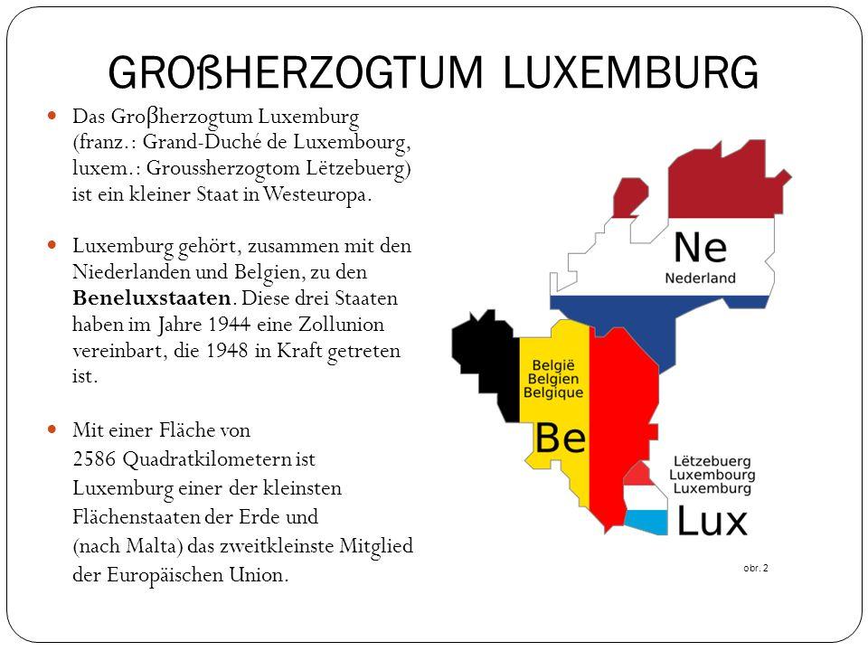 GROßHERZOGTUM LUXEMBURG Das Gro β herzogtum Luxemburg (franz.: Grand-Duché de Luxembourg, luxem.: Groussherzogtom Lëtzebuerg) ist ein kleiner Staat in Westeuropa.
