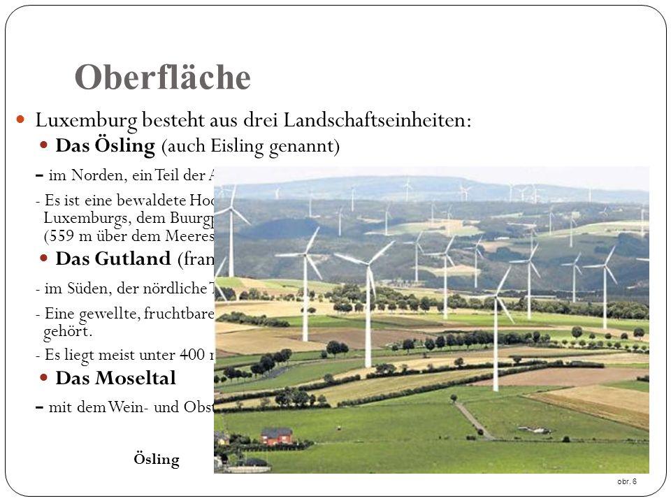Oberfläche Luxemburg besteht aus drei Landschaftseinheiten: Das Ösling (auch Eisling genannt) - im Norden, ein Teil der Ardennen - Es ist eine bewaldete Hochfläche mit dem höchsten Berg Luxemburgs, dem Buurgplaatz bei Huldange (559 m über dem Meeresspiegel).