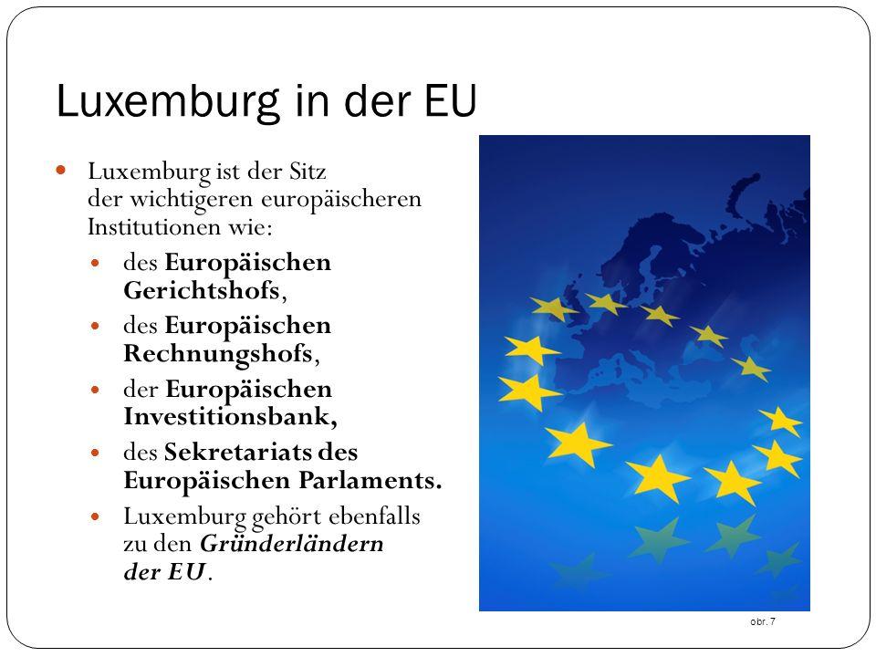 Luxemburg in der EU Luxemburg ist der Sitz der wichtigeren europäischeren Institutionen wie: des Europäischen Gerichtshofs, des Europäischen Rechnungshofs, der Europäischen Investitionsbank, des Sekretariats des Europäischen Parlaments.
