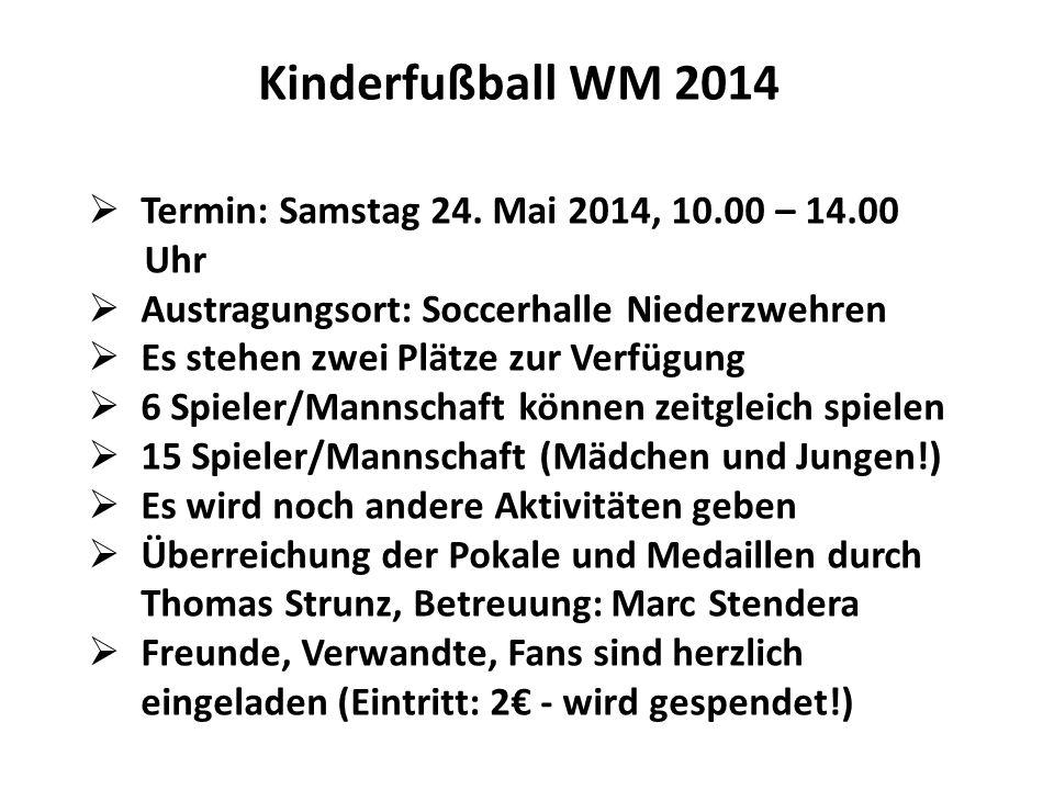 Kinderfußball WM 2014 Termin: Samstag 24. Mai 2014, 10.00 – 14.00 Uhr Austragungsort: Soccerhalle Niederzwehren Es stehen zwei Plätze zur Verfügung 6