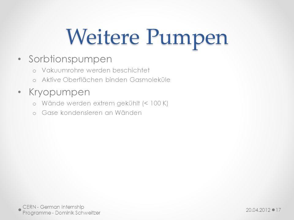 Weitere Pumpen Sorbtionspumpen o Vakuumrohre werden beschichtet o Aktive Oberflächen binden Gasmoleküle Kryopumpen o Wände werden extrem gekühlt (< 100 K) o Gase kondensieren an Wänden 20.04.2012 CERN - German Internship Programme - Dominik Schweitzer 17