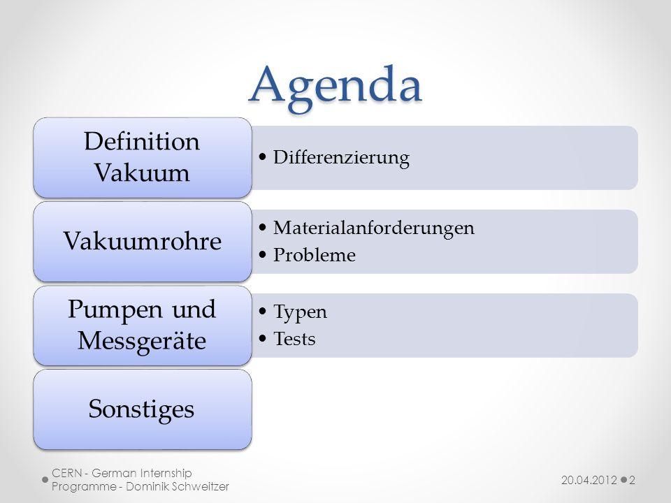 Definition Vakuum 20.04.2012 CERN - German Internship Programme - Dominik Schweitzer 3