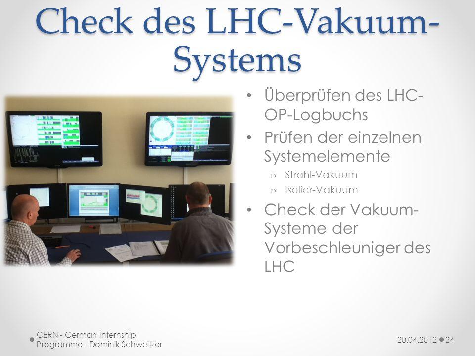 Check des LHC-Vakuum- Systems Überprüfen des LHC- OP-Logbuchs Prüfen der einzelnen Systemelemente o Strahl-Vakuum o Isolier-Vakuum Check der Vakuum- Systeme der Vorbeschleuniger des LHC 20.04.2012 CERN - German Internship Programme - Dominik Schweitzer 24