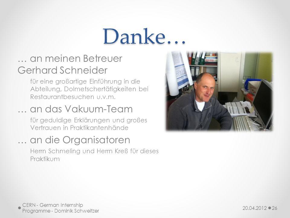 Danke… … an meinen Betreuer Gerhard Schneider für eine großartige Einführung in die Abteilung, Dolmetschertätigkeiten bei Restaurantbesuchen u.v.m.