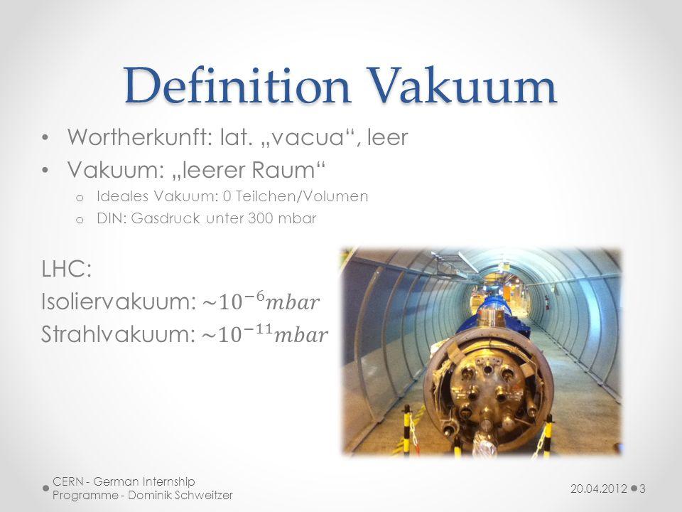 Differenzierung BezeichnungDruck [mbar]Teilchen/l Umgebungsdruck~1000 2,47E+22 Low (LV)< 3*10 2 7,42E+21 High (HV)< 1 2,47E+19 Very High (VHV)< 10 3 2,47E+18 Ultra-high (UHV)< 10 7 2,47E+12 Extreme Ultra-High< 10 12 2,47E+07 20.04.2012 CERN - German Internship Programme - Dominik Schweitzer 4