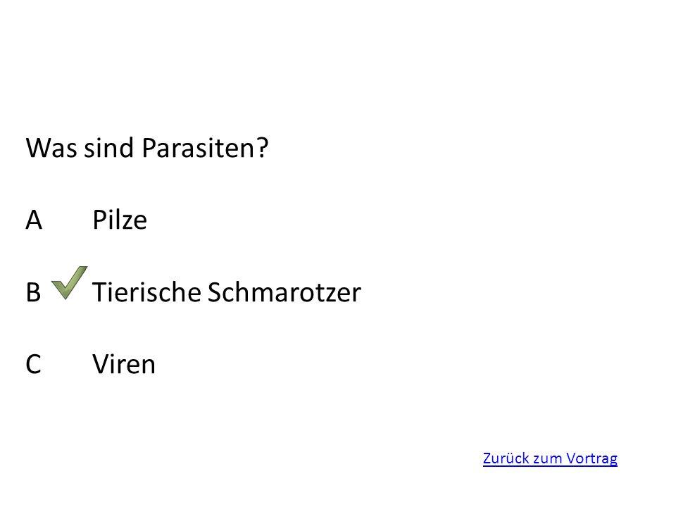 Zurück zum Vortrag Was sind Parasiten? APilze BTierische Schmarotzer CViren