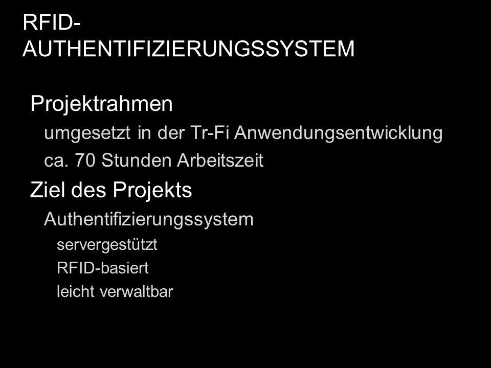 Projektrahmen umgesetzt in der Tr-Fi Anwendungsentwicklung ca. 70 Stunden Arbeitszeit Ziel des Projekts Authentifizierungssystem servergestützt RFID-b