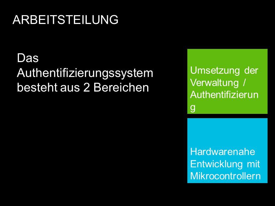 ARBEITSTEILUNG Umsetzung der Verwaltung / Authentifizierun g Das Authentifizierungssystem besteht aus 2 Bereichen Hardwarenahe Entwicklung mit Mikrocontrollern