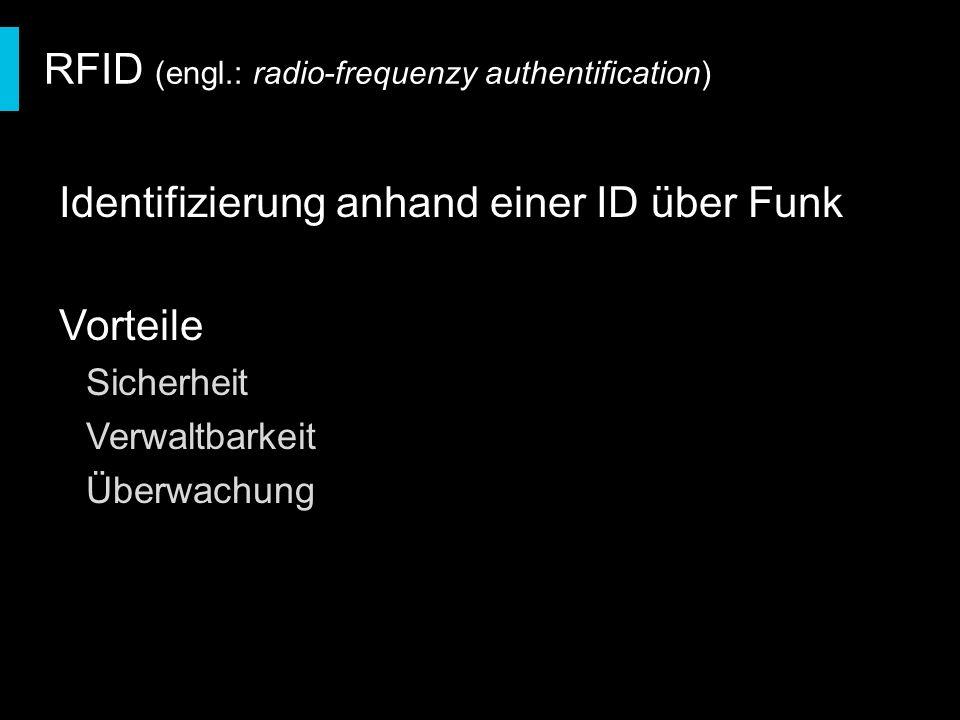 Identifizierung anhand einer ID über Funk Vorteile Sicherheit Verwaltbarkeit Überwachung RFID (engl.: radio-frequenzy authentification)