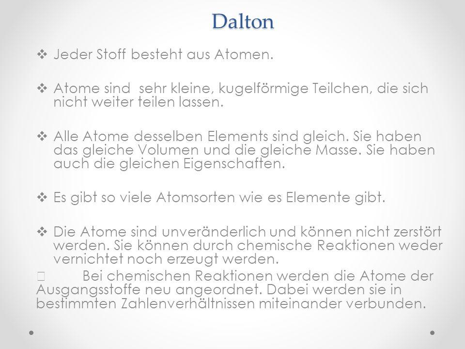 Dalton Jeder Stoff besteht aus Atomen. Atome sind sehr kleine, kugelförmige Teilchen, die sich nicht weiter teilen lassen. Alle Atome desselben Elemen