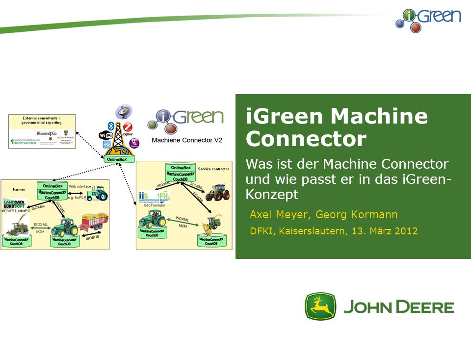 2| iGreen Datenmanagement Infrastruktur iGreen Machine Connector | Pressekonferenz Lohnunternehmer Zulieferer LW Berater Händler Betriebsleiter Maschine Drittanbieter / OEMs
