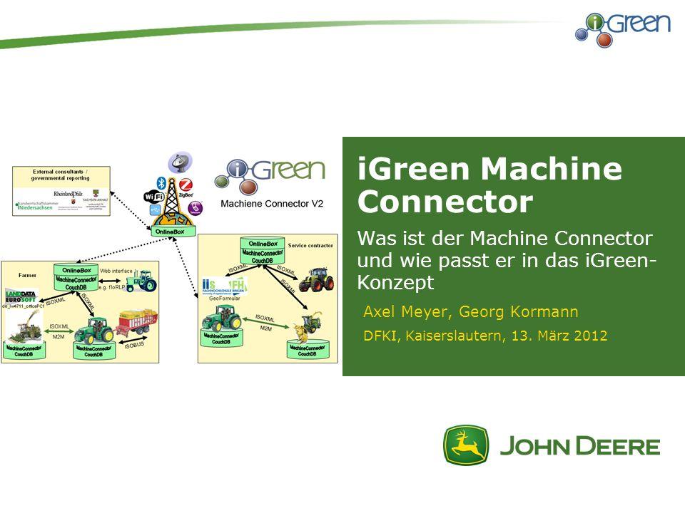 iGreen Machine Connector Axel Meyer, Georg Kormann DFKI, Kaiserslautern, 13. März 2012 Was ist der Machine Connector und wie passt er in das iGreen- K