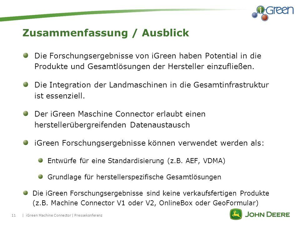 11| Zusammenfassung / Ausblick iGreen Machine Connector | Pressekonferenz Die Forschungsergebnisse von iGreen haben Potential in die Produkte und Gesa