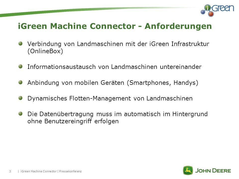 3| iGreen Machine Connector - Anforderungen iGreen Machine Connector | Pressekonferenz Verbindung von Landmaschinen mit der iGreen Infrastruktur (Onli