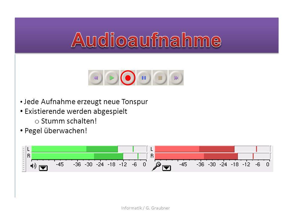 Jede Aufnahme erzeugt neue Tonspur Existierende werden abgespielt o Stumm schalten.