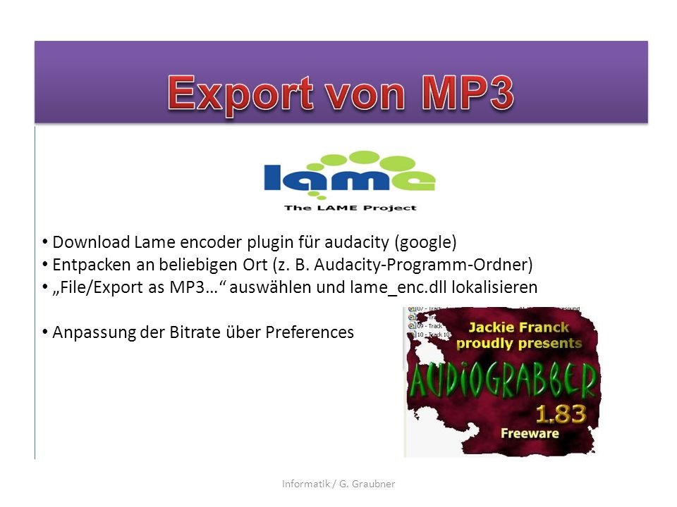 Download Lame encoder plugin für audacity (google) Entpacken an beliebigen Ort (z.
