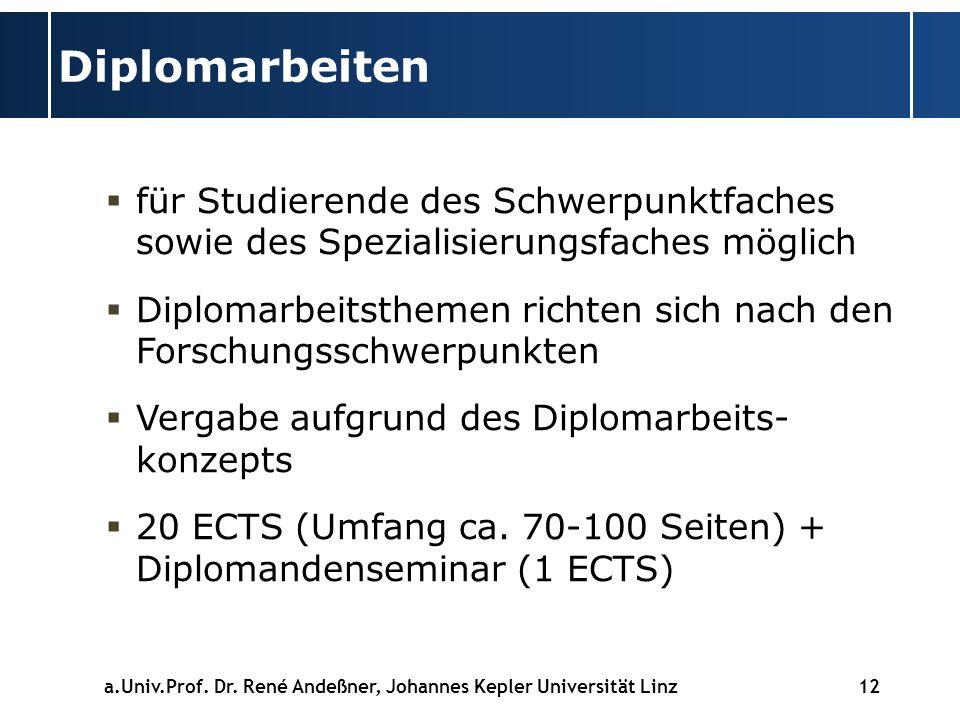 12 Diplomarbeiten für Studierende des Schwerpunktfaches sowie des Spezialisierungsfaches möglich Diplomarbeitsthemen richten sich nach den Forschungsschwerpunkten Vergabe aufgrund des Diplomarbeits- konzepts 20 ECTS (Umfang ca.