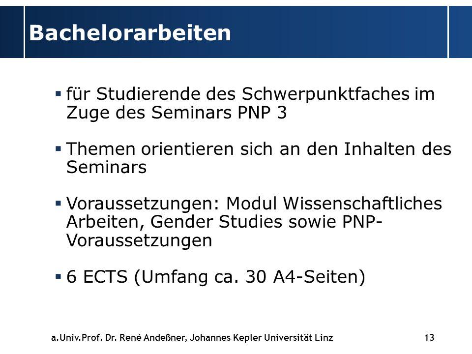 13 Bachelorarbeiten für Studierende des Schwerpunktfaches im Zuge des Seminars PNP 3 Themen orientieren sich an den Inhalten des Seminars Voraussetzungen: Modul Wissenschaftliches Arbeiten, Gender Studies sowie PNP- Voraussetzungen 6 ECTS (Umfang ca.