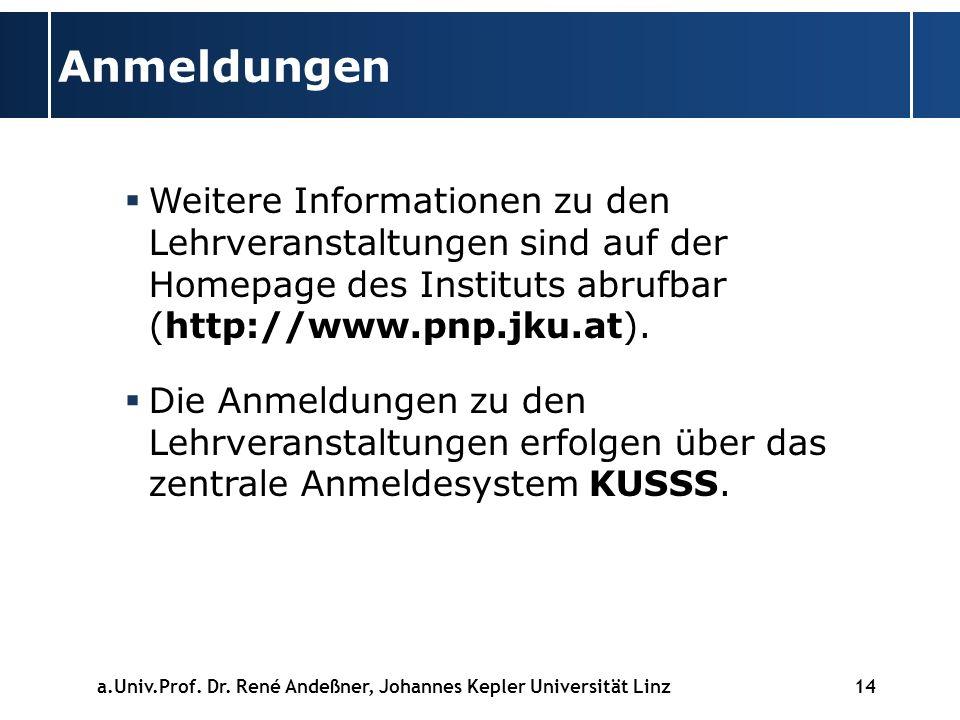 14 Anmeldungen Weitere Informationen zu den Lehrveranstaltungen sind auf der Homepage des Instituts abrufbar (http://www.pnp.jku.at).