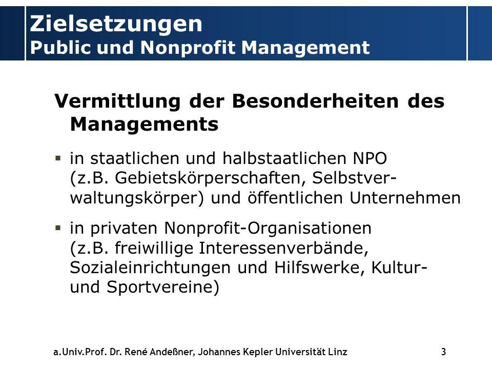 3 Zielsetzungen Public und Nonprofit Management Vermittlung der Besonderheiten des Managements in staatlichen und halbstaatlichen NPO (z.B.