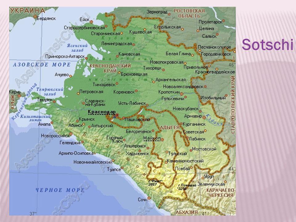 1.Wo liegt Sotschi.2.Liegt Sotschi am Meer. 3.Welche Nachbarnstadte hat Sotschi.