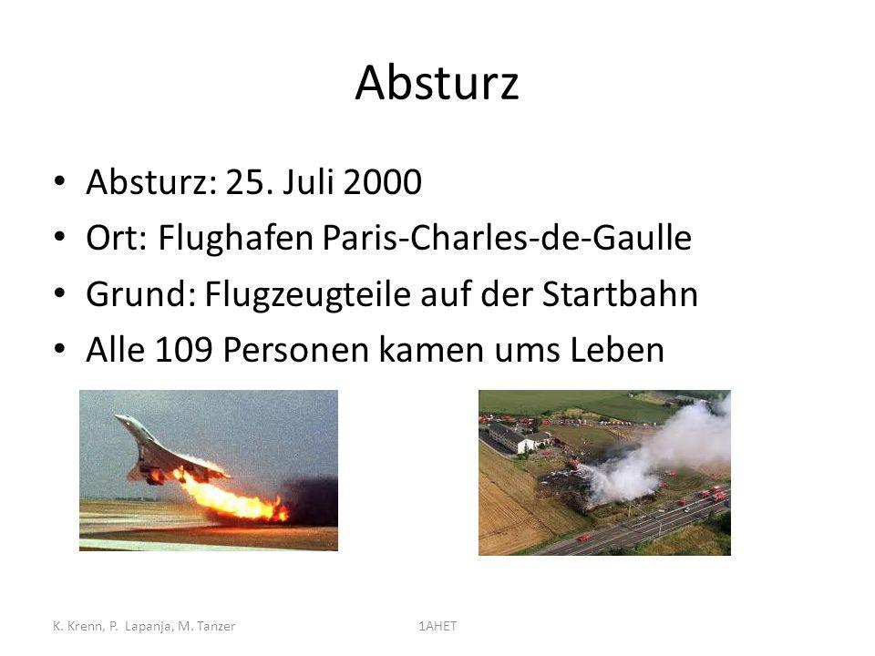Absturz Absturz: 25. Juli 2000 Ort: Flughafen Paris-Charles-de-Gaulle Grund: Flugzeugteile auf der Startbahn Alle 109 Personen kamen ums Leben K. Kren