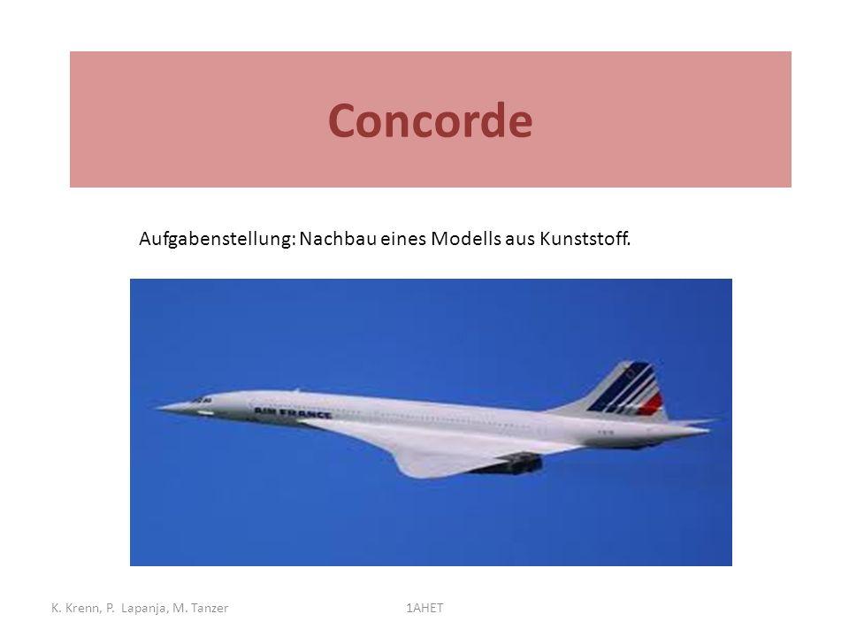 Concorde Betrieb: 1976 bis 2003 K. Krenn, P. Lapanja, M. Tanzer1AHET Aufgabenstellung: Nachbau eines Modells aus Kunststoff.