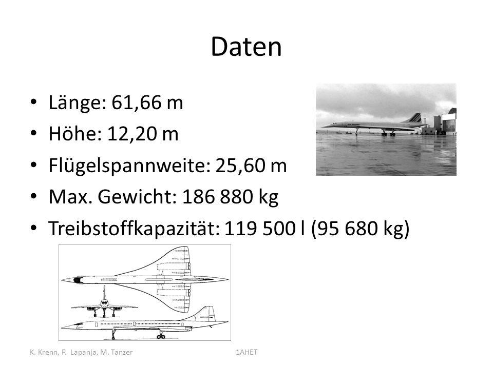 Daten Länge: 61,66 m Höhe: 12,20 m Flügelspannweite: 25,60 m Max. Gewicht: 186 880 kg Treibstoffkapazität: 119 500 l (95 680 kg) K. Krenn, P. Lapanja,