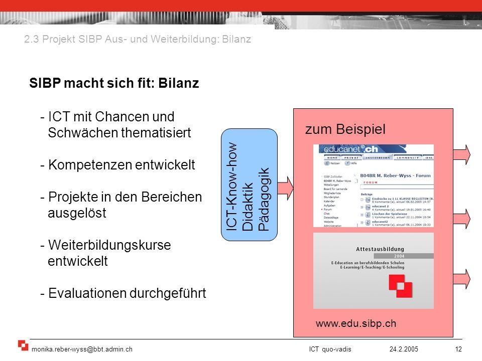 monika.reber-wyss@bbt.admin.ch ICT quo-vadis 24.2.200512 zum Beispiel 2.3 Projekt SIBP Aus- und Weiterbildung: Bilanz SIBP macht sich fit: Bilanz - IC