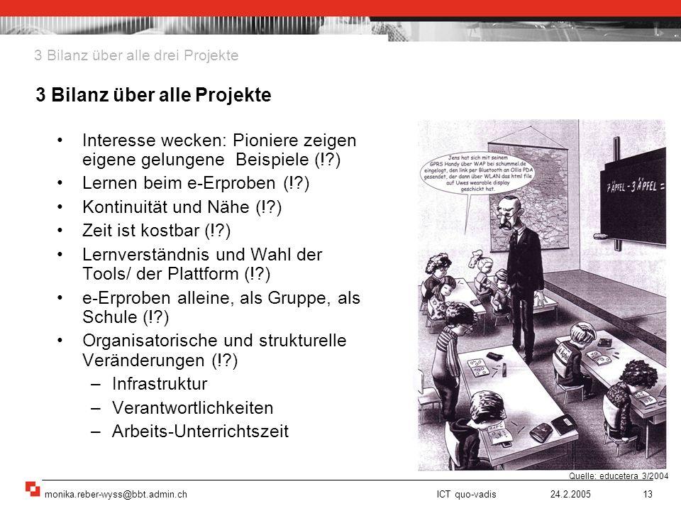 monika.reber-wyss@bbt.admin.ch ICT quo-vadis 24.2.200513 Interesse wecken: Pioniere zeigen eigene gelungene Beispiele (!?) Lernen beim e-Erproben (!?)