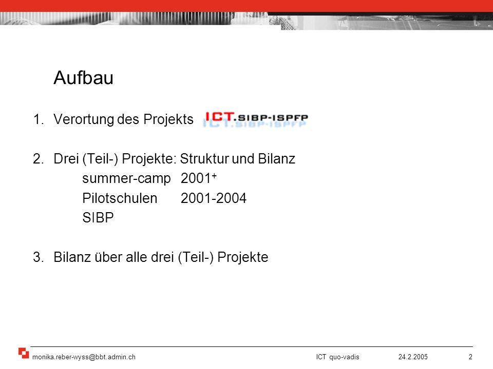monika.reber-wyss@bbt.admin.ch ICT quo-vadis 24.2.200513 Interesse wecken: Pioniere zeigen eigene gelungene Beispiele (!?) Lernen beim e-Erproben (!?) Kontinuität und Nähe (!?) Zeit ist kostbar (!?) Lernverständnis und Wahl der Tools/ der Plattform (!?) e-Erproben alleine, als Gruppe, als Schule (!?) Organisatorische und strukturelle Veränderungen (!?) –Infrastruktur –Verantwortlichkeiten –Arbeits-Unterrichtszeit 3 Bilanz über alle drei Projekte 3 Bilanz über alle Projekte Quelle: educetera 3/2004