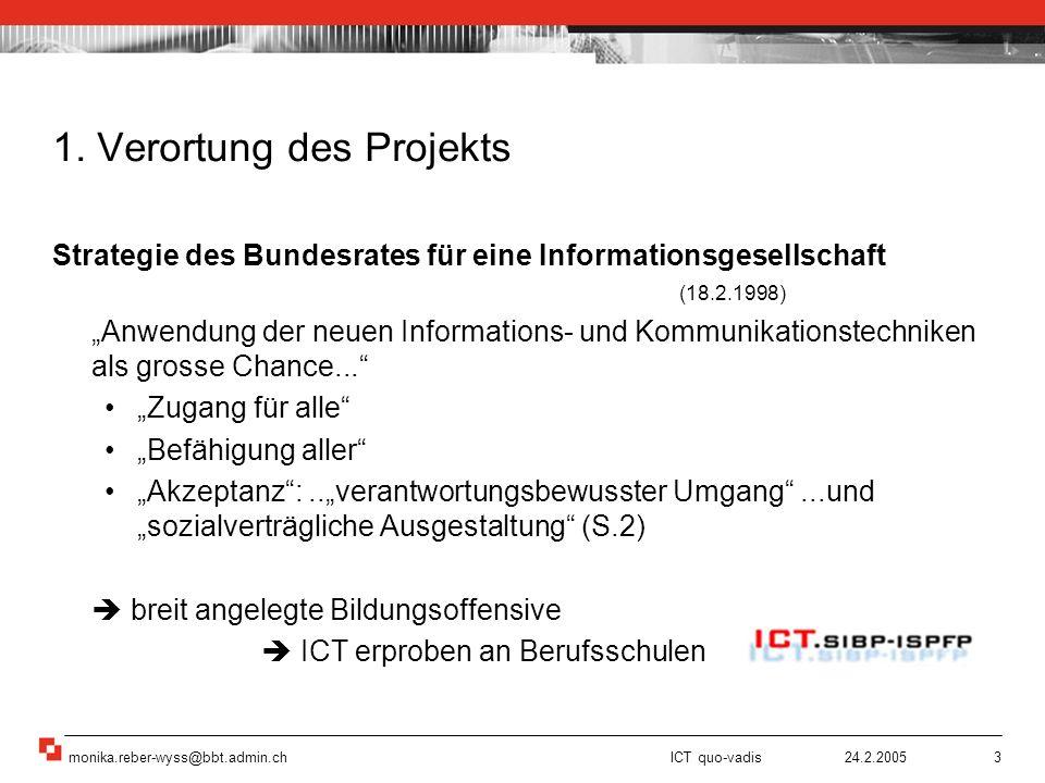 monika.reber-wyss@bbt.admin.ch ICT quo-vadis 24.2.20053 Strategie des Bundesrates für eine Informationsgesellschaft (18.2.1998) Anwendung der neuen In