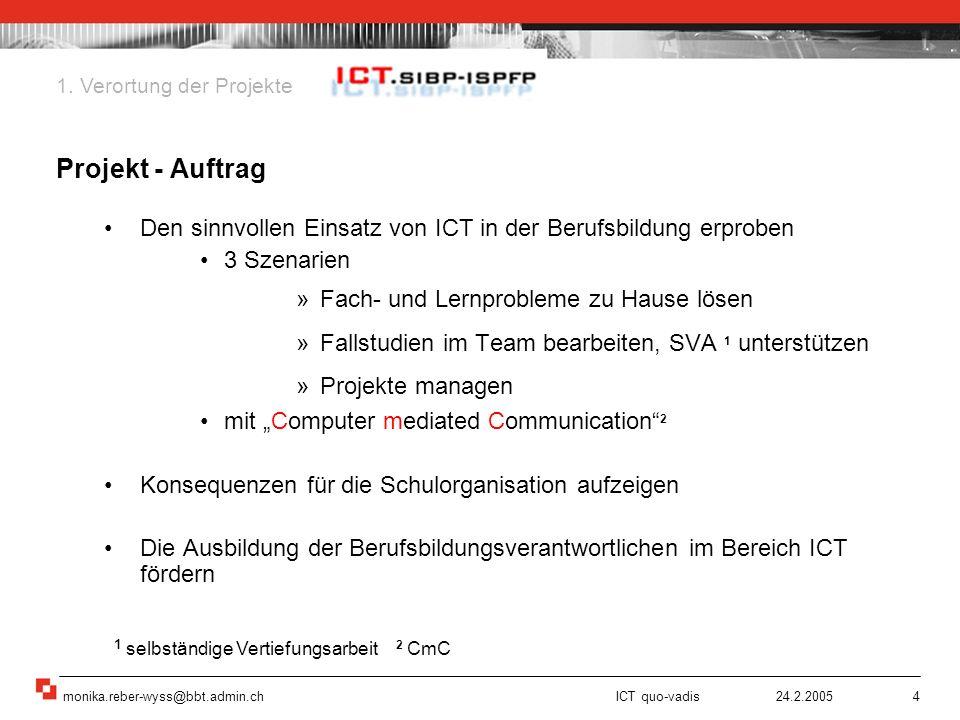 monika.reber-wyss@bbt.admin.ch ICT quo-vadis 24.2.20055 Drei Entwicklungsprojekte SIBP: Mitarbeitende, Dozierende Pilotschulen Aus- und Weiterbildung von Berufsbildungsverantwortlichen 1.