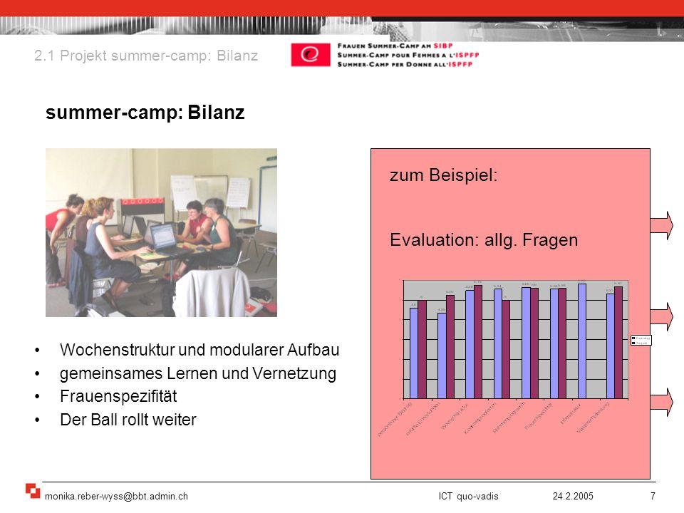 monika.reber-wyss@bbt.admin.ch ICT quo-vadis 24.2.20057 Wochenstruktur und modularer Aufbau gemeinsames Lernen und Vernetzung Frauenspezifität Der Bal