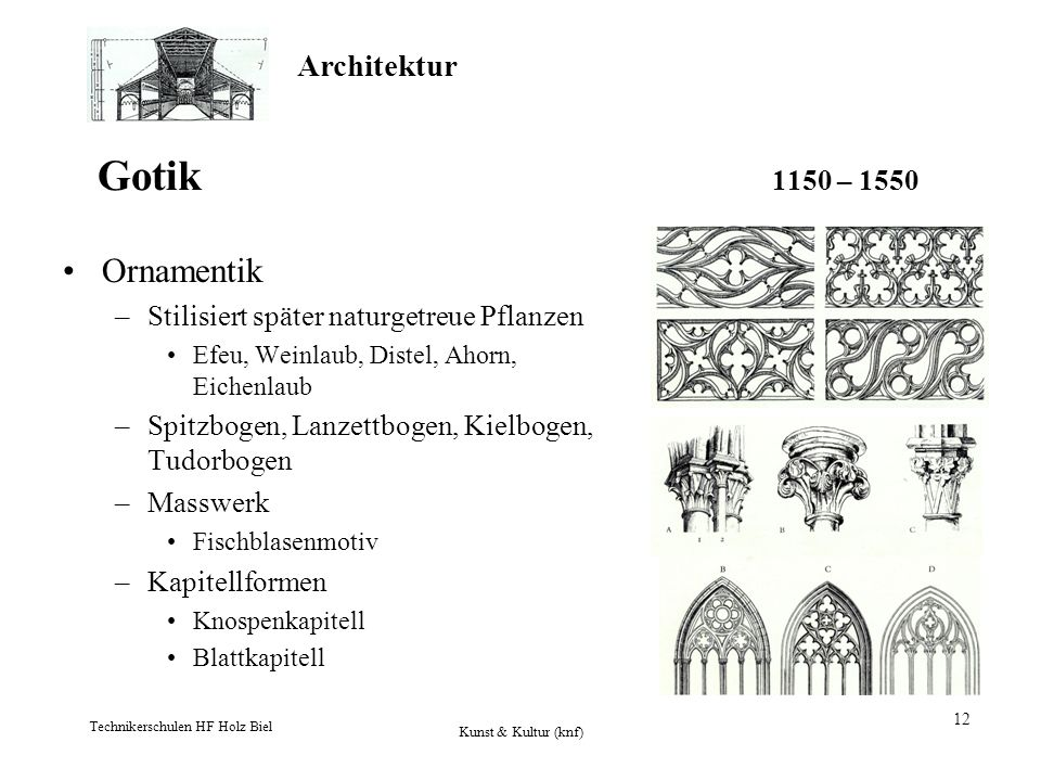 Architektur Technikerschulen HF Holz Biel Kunst & Kultur (knf) 12 Gotik 1150 – 1550 Ornamentik –Stilisiert später naturgetreue Pflanzen Efeu, Weinlaub