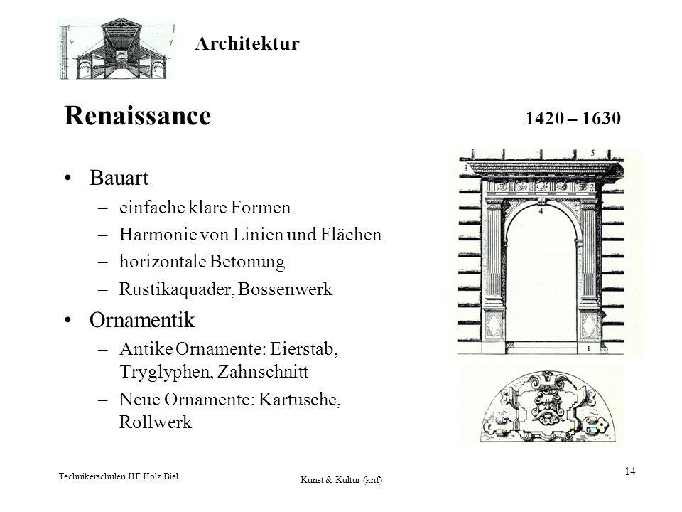 Architektur Technikerschulen HF Holz Biel Kunst & Kultur (knf) 14 Renaissance 1420 – 1630 Bauart –einfache klare Formen –Harmonie von Linien und Fläch