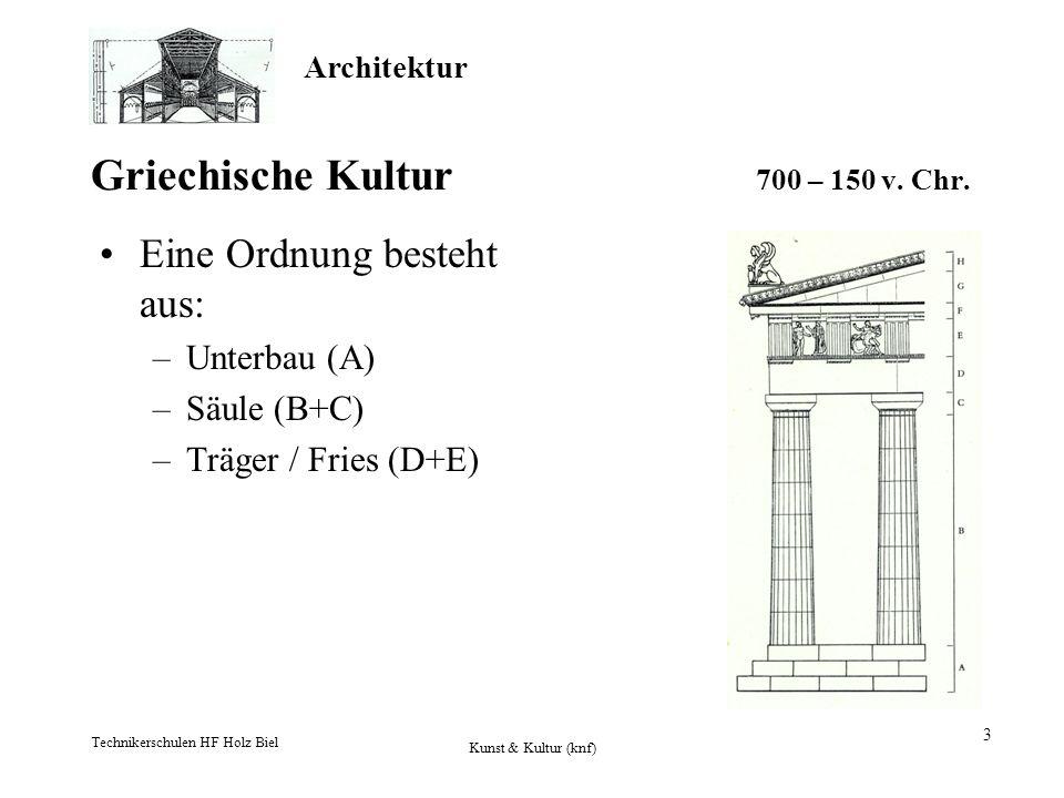 Architektur Technikerschulen HF Holz Biel Kunst & Kultur (knf) 3 Griechische Kultur 700 – 150 v. Chr. Eine Ordnung besteht aus: –Unterbau (A) –Säule (