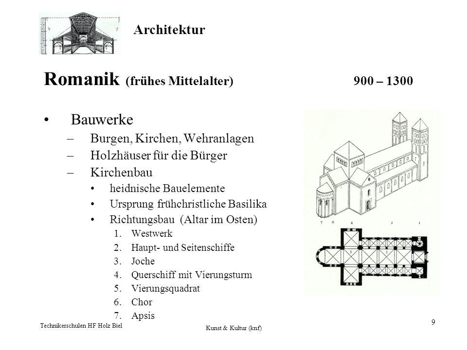 Architektur Technikerschulen HF Holz Biel Kunst & Kultur (knf) 9 Romanik (frühes Mittelalter) 900 – 1300 Bauwerke –Burgen, Kirchen, Wehranlagen –Holzh