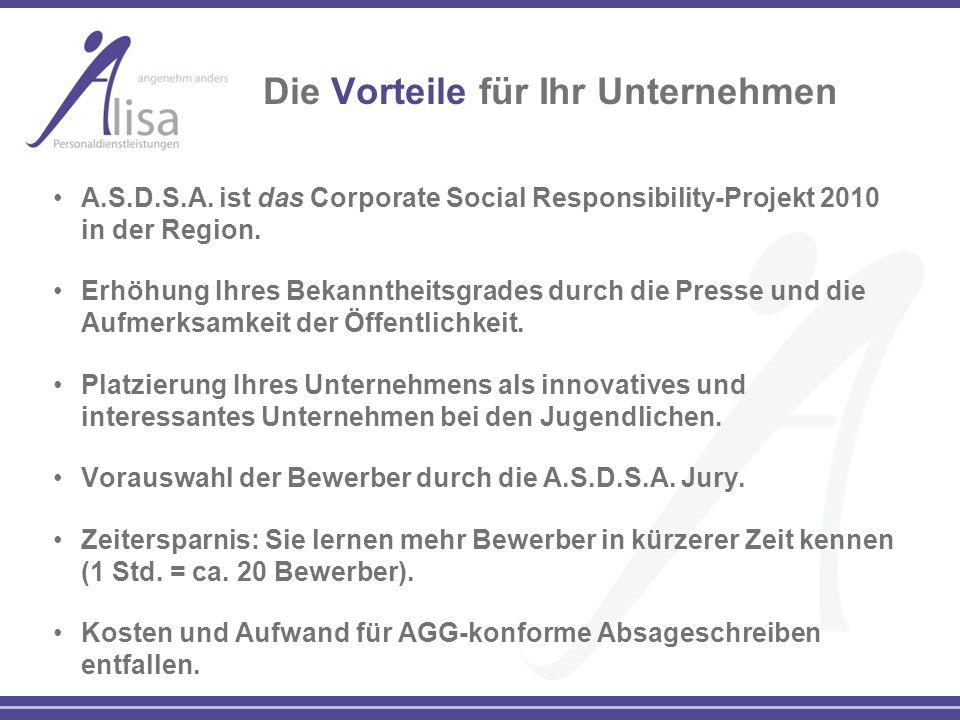 Die Vorteile für Ihr Unternehmen A.S.D.S.A. ist das Corporate Social Responsibility-Projekt 2010 in der Region. Erhöhung Ihres Bekanntheitsgrades durc
