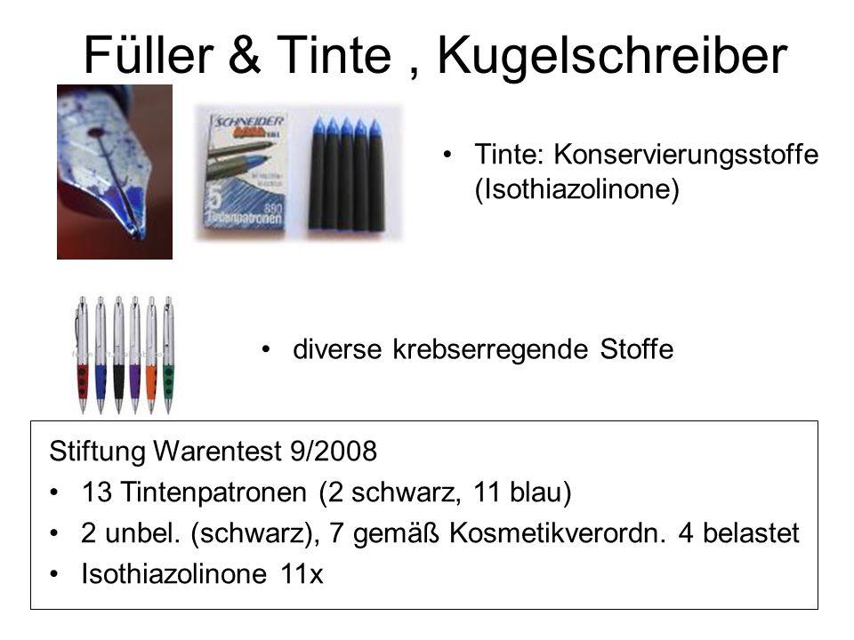 Füller & Tinte, Kugelschreiber Tinte: Konservierungsstoffe (Isothiazolinone) Stiftung Warentest 9/2008 13 Tintenpatronen (2 schwarz, 11 blau) 2 unbel.