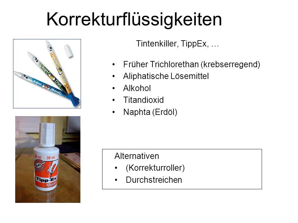 Tintenkiller, TippEx, … Früher Trichlorethan (krebserregend) Aliphatische Lösemittel Alkohol Titandioxid Naphta (Erdöl) Korrekturflüssigkeiten Alternativen (Korrekturroller) Durchstreichen