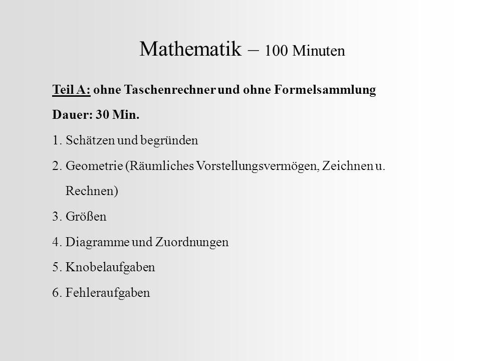 Mathematik – 100 Minuten Teil A: ohne Taschenrechner und ohne Formelsammlung Dauer: 30 Min. 1. Schätzen und begründen 2. Geometrie (Räumliches Vorstel