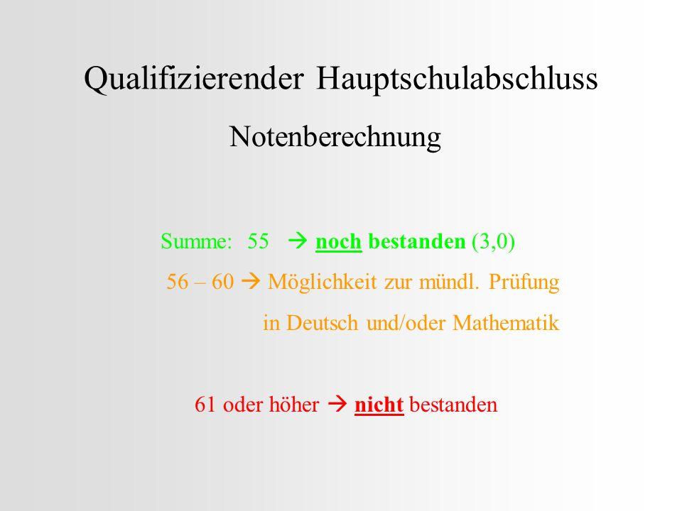Qualifizierender Hauptschulabschluss Notenberechnung Summe: 55 noch bestanden (3,0) 56 – 60 Möglichkeit zur mündl. Prüfung in Deutsch und/oder Mathema