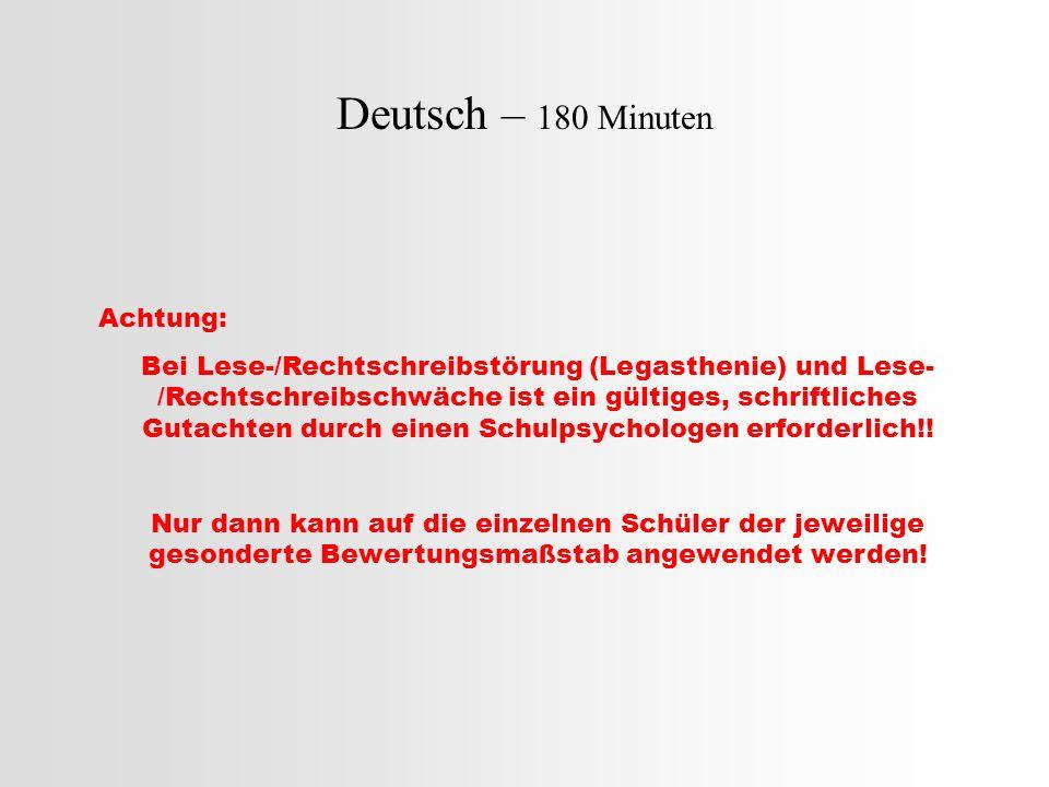 Deutsch – 180 Minuten Teil A: Rechtschreibteil (insgesamt.