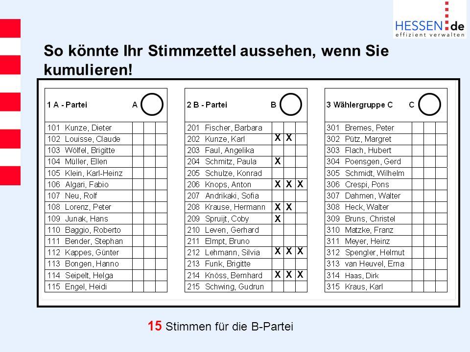 So könnte Ihr Stimmzettel aussehen, wenn Sie kumulieren! 15 Stimmen für die B-Partei X X X X X X X X X