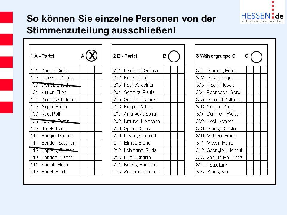 So können Sie einzelne Personen von der Stimmenzuteilung ausschließen! X